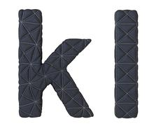 Lowercase stitched leather font k l letters Stock Illustration