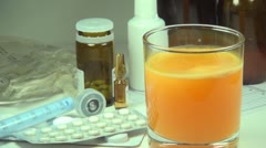 Bubbles of Effervescent Vitamins Tablet, Glass of Water, Close up, Pills, Drugs Stock Footage