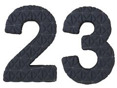 Stitched leather font 2 3 numerals isolated Stock Illustration