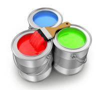 paint cans with paintbrush - stock illustration
