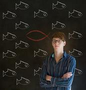 Business man, student or teacher considering jesus, god or christianity Stock Photos