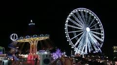Funfair at Night Christmas Lights Stock Footage