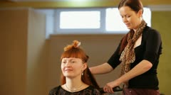 Hairstyle At School Of Beauty - stock footage