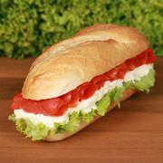fresh sandwich with smoked salmon - stock photo