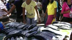 The local fish market in the city of Sibalom in the Republic of the Philippines Stock Footage