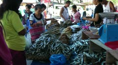 Dried fish market at Sibalom city in the Republic of the Philippines Stock Footage