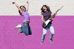 teen pop group with guitar - stock photo
