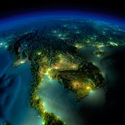 Stock Illustration of night earth. a piece of asia - indochina peninsula