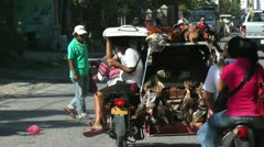 Busy local street market at Sibalom city in the Republic of the Philippines Stock Footage