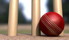 cricket ball at base of wickets - stock illustration