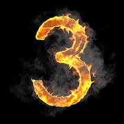 burning and flame font 3 numeral - stock illustration