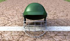Cricket helmet on cracket pitch front Stock Illustration