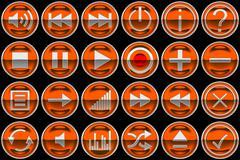 Round orange control panel buttons Stock Illustration