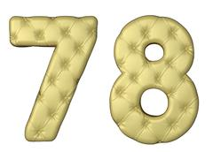 luxury beige leather font 7 8 numerals - stock illustration