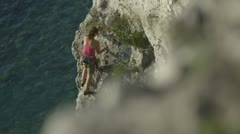 Rack Focus Rock Climbing Stock Footage
