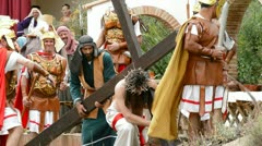 Christ is whipped Calvary Road, theatrical representation of the Passion - stock footage