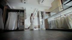 Bride walks in a wedding dress Stock Footage