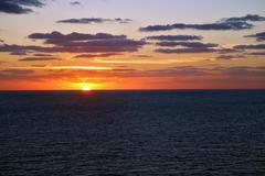 Sunset over the ocean from Cruise Ship Stock Photos