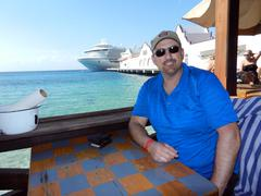 Man at bar Cruise Ship at port Stock Photos