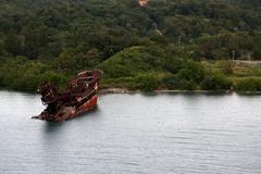 Partially Sunken Ship - stock photo