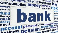 Bank business words concept Stock Footage