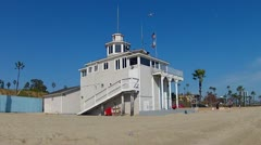 Dutch Miller Historical Lifeguard Station- Long Beach CA 1 Stock Footage