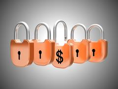 padlocks concept: us dollar currency safety - stock illustration