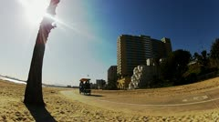 Sunny Day Bike Surrey At Beach- Wide Angle- Long Beach CA Stock Footage