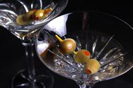 Stock Photo of two martini glasses with olives