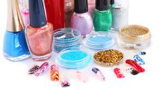 nail polishes and glitters - stock photo