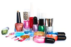 Nail polishes and glitters Stock Photos