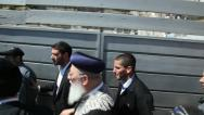 Stock Video Footage of Sephardi Chief Rabbi of Israel, Shlomo Amar escorted by police