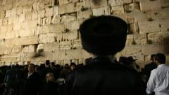 Jews pray in the Western Wall in the night before the Priestly Blessing Stock Footage