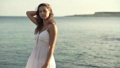 Young woman by the sea, super slow motion, shot at 240fps HD Stock Footage