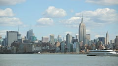New York City skyline time-lapse empire state building manhattan - stock footage