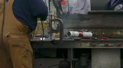 Welder Man on Back of Utility Truck Metalwork Stock Footage