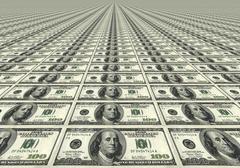 Many One Hundred Dollar Bills - stock illustration