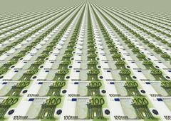 Many One Hundred Euro Bills - stock illustration