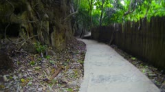 Traffic on concrete path along the rocks and bamboo fence Stock Footage