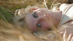 Girl Lying On Grass Stock Footage