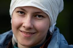 A girl in a headscarf Stock Photos