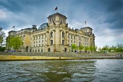 Reichstag and spree river Stock Photos