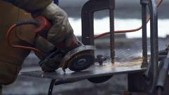 Grinding Steel with Angle Grinder - Super Slow Motion, close Stock Footage
