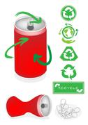Aluminum Can with Recycle Symbol for Save The World Stock Illustration