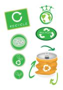 Yellow Aluminum Can with Recycle Symbol for Save The World - stock illustration