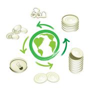 Aluminum Can Recycling Symbol for Save The World - stock illustration