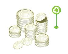 Aluminum or Tin Cans and Recycling Symbol Stock Illustration