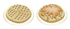 Two Tradition Round Waffles on White Plates - stock illustration