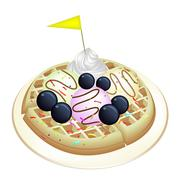 Tradition Waffle with Blueberries and Ice Cream - stock illustration