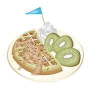 Tradition Waffle with Kiwi and Whipped Cream. - stock illustration